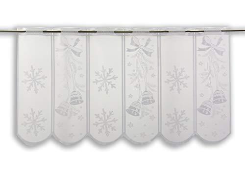 Clever-Kauf-24 Scheibengardine Glocke Flocke | Höhe 50cm | Breite der Gardine frei wählbar in 15,5cm Schritten | Gardine | Panneaux | Weihnachten |
