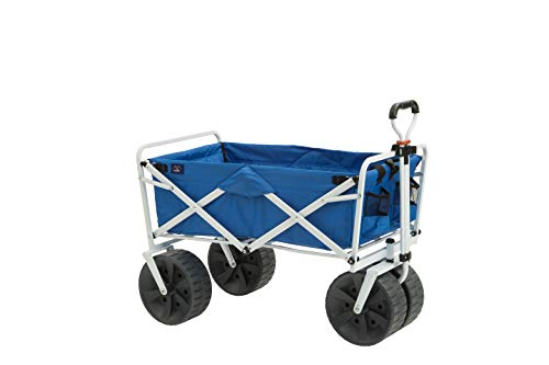 Mac Sports Heavy Duty Collapsible Folding All Terrain Utility Beach Wagon Cart, Blue/White