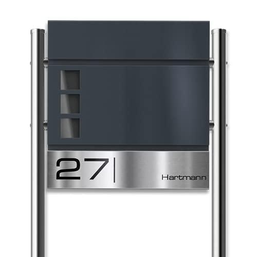 Metzler Standbriefkasten mit Edelstahl-Namensschild Oltmann - Design Briefkasten inkl. Zeitungsfach & Gravur - Briefkasten mit Fenster - Postkasten, Größe: 37 x 37 x 10,5 cm - Höhe 120 cm