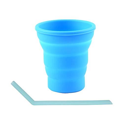 SENDILI Vaso Plegable - Copas Plegables Retráctiles de Silicona Telescópica Plegable Taza de Agua para Exteriores,Azul,1*Vaso Plegable+1*Pajitas