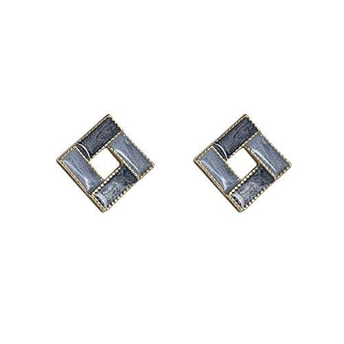 Xlin Pendientes S925 ST925 Silver Aguja Retro Geométrico Cuadrado Pequeño Pasta Pendientes Simple Pendientes (Color : Brown)