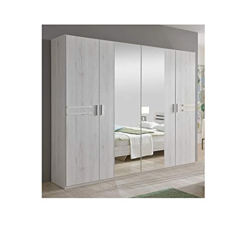 New Susan German White Oak Effect 4 Door Mirror Wardrobe Bedroom Furniture Mirrored Storage Hanging Rail Made in Germany Full Assembly Service Included