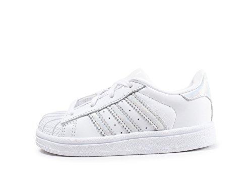 Adidas - Superstar I - CQ2868 - Kleur: Wit-Zilveren - Maat: 20 EU