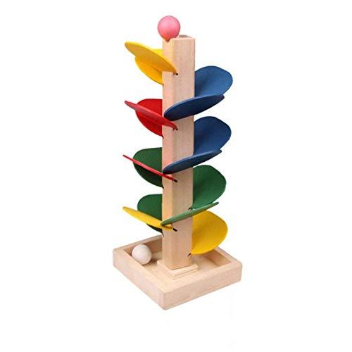 OMMO LEBEINDR 1 Juego de Madera de árbol Hojas Desmontables mármol Bola Pista del Funcionamiento del Juego Colorido de los niños de Juguetes educativos Blocksfor Conveniencia
