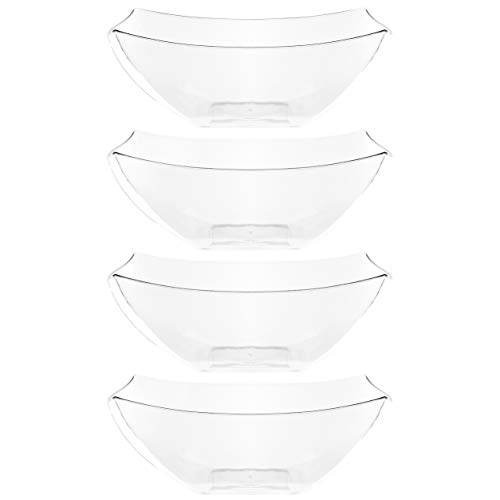 Plasticpro Disposable Square Serving Bowls, Party Snack or Salad Bowl, Plastic Clear or White Pack of 4 (16 OUNCE, Clear)