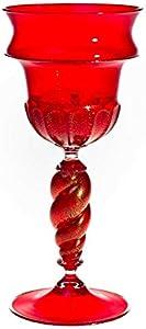 Copa de cristal de Murano, copa roja, decoración de hojas de oro, copa hecha a mano, 100% marca registrada de origen, Artù