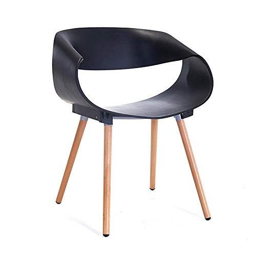 Tägliche Ausrüstung Esszimmerstuhl Moderner kreativer Stuhl Verhandlungsstuhl Holz Kunststoff Rückenlehne Esszimmerstuhl Showroom Stuhl Stühle (Farbe: Weiß Größe: 75x47x50cm)