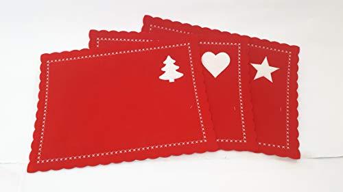 DUE ESSE CHRISTMAS S.r.l. 6 Sottopiatti di Natale in Feltro Rosso, Tovagliette Rosse Rettangolari con Disegni Ricamati Bianchi a Forma di Stella, Albero di Natale e Cuore