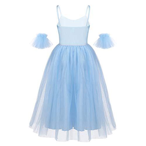 IEFIEL Vestido Largo de Danza para Niñas Vestido Elegante de Tirantes de Ballet Vestido Princesa de Danza Moderna Disfraz Bailarina Niña 6-14 años Azul 14 años