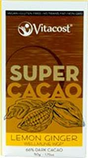 Vitacost Super Cacao Lemon Ginger with Wellmune WGP - 66% Dark Cacao - 1.75 oz
