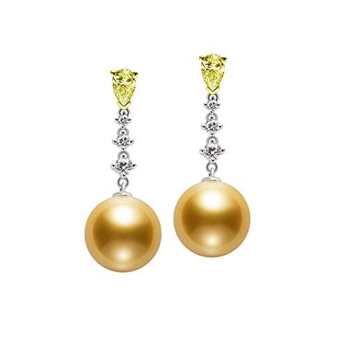 KnSam 18K Oro Blanco Pendiente, Arete Cadena en Y con Perla Amarillo Diamante, Perla Oro, Color Oro Blanco