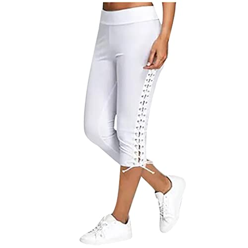 Sarouel - Pantalón de deporte para mujer, cintura elástica con vendaje sólido, multicolor, informal con tirantes, ideal para adelgazar, fitness, jogging, yoga, blanco, L