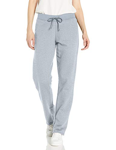 Fruit of the Loom Women's Essentials French Terry Pants and Tri-Blend Tees, Open Bottom - Athletic Heather, X-Large