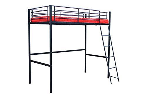 MUEBLIX | Literas Juveniles 90x190 | Cama Alta Individual | Estructura de Metal Color Negro| Literas Juveniles Baratas con Escalera | Ideal para Loft para Escritorio debajo | Modelo Pedro