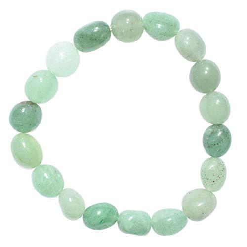 CHARGED Green Aventurine Crystal Bracelet Tumble Polished Stretchy + Selenite Heart Charging Crystal (GAIN CREATIVITY, COURAGE, INDEPENDENCE, PROSPERITY - BALANCES EMOTIONS) [REIKI] (Freeform Nugget)