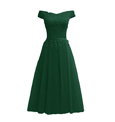 Ubride Women's Lace Prom Gowns Off Shoulder Appliques Tea Length Long Formal Evening Gowns Hunter Green