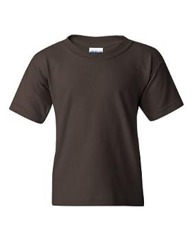 Gildan boys Heavy Cotton T-Shirt G500B -DARK CHOCOLATE-S