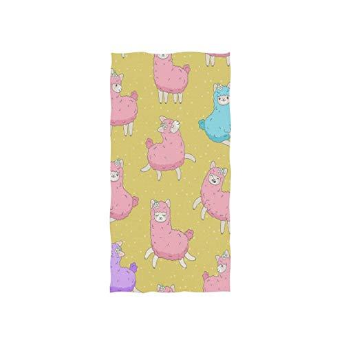 LREFON Toallas Caricatura Lindo Color Rosa Esponjoso Llama Alpaca Lunares Personaje Animal Divertido en Amarillo para la Ducha,Toallas de baño,Deportes al Aire Libre