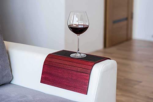 Tavolo da bracciolo per divano, tavolo per divano, vassoio da bracciolo per divano, vassoio sottobicchiere in legno per divano, tavolo da bracciolo personalizzato per divano con tessuto. 6. Rosso
