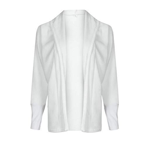iHENGH Damen Damen Kapuzenmantel Winterjacke Strickjacke Mantel Outwear Jumper(Weiß, S)