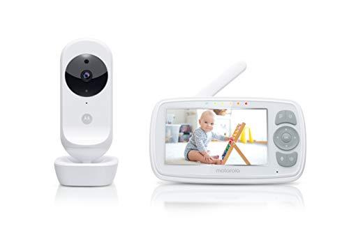 Motorola Baby Ease 34-Vigilabebés con cámara-Video monitor para bebés con pantalla HD de 4.3 pulgadas-visión nocturna, comunicación bidireccional, canciones de cuna, monitoreo de temperatura, Blanco