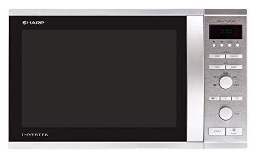 Sharp R-941STW 3-in-1 Mikrowelle mit Heißluft und Grill / 40 L / 1050 W / 1450 W Heißluft / 1300 W Quarzgrill / Inverter Technologie / digitale Steuerung / 18 Automatikprogramme / Timer / edelstahl