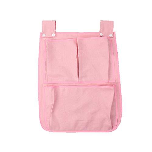Bolsa de Almacenamiento Multifuncional Pañal de Bolsillo Colgando Cuna Organizador Cuna portátil(Pink)