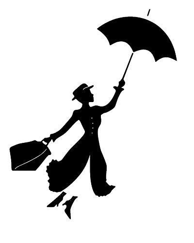 Mary Poppins con Ombrello Adesivo da parete adesivo murale Soggiorno Casa Adesivi moderni Decorazione arredamento Elegante decalcomanie Arte