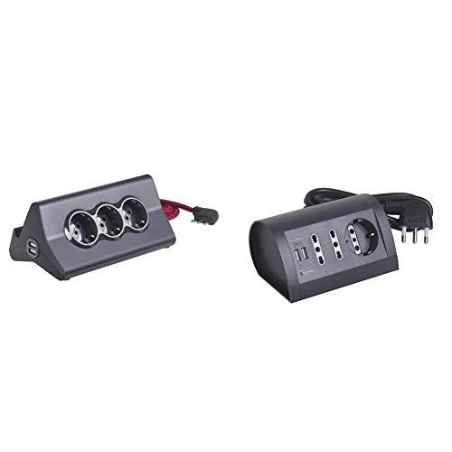 BTicino S3713GBU Multipresa da Scrivania con Spina 10 A, 3 P30, 2 Prese USB, Interruttore, 2 m, Nero & S3711GU Multipresa da Scrivania con Presa USB, 1.5A, 3500 W, 250 V, Cavo 2m, Grigio Antracite