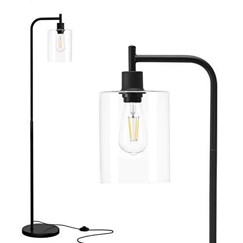 Addlon LED Floor Lamp, with Hanging Glass Lamp Shade and LED Bulb for Bedroom and Living Room, Modern Standing Industrial Lamp Tall Pole Lamp for Office, Classical Black