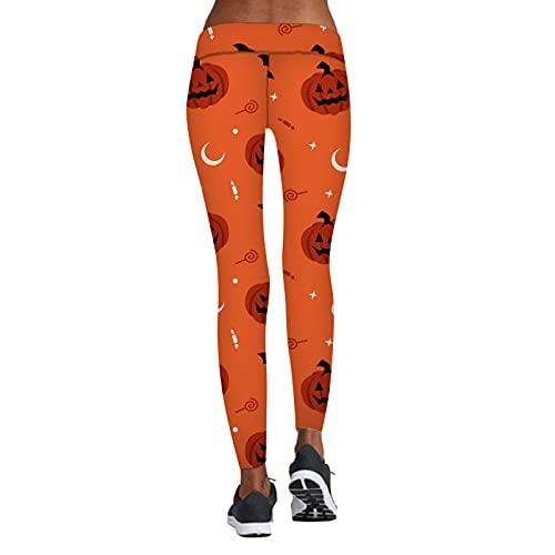 Briskorry Halloween Strumpfhosen Kürbis 3D Muster Yoga-Hosen für Damen Leggings Schlanke Taille Elastisch Cosplay Party Yoga Hosen