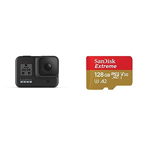 GoPro HERO8 Black - Fotocamera digitale impermeabile 4K con stabilizzazione ipersfondata, touch screen e controllo vocale + SanDisk Extreme Scheda di Memoria microSDXC da 128 GB e adattatore SD