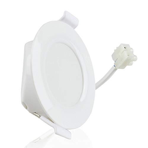 Spot encastré LED blanc rond 6 watts blanc chaud plat (30mm) 230V - lampe encastrée IP44 pour salle de bain, extérieur - Ø70mm trou plafond salle de bain - spot encastré salle de bain
