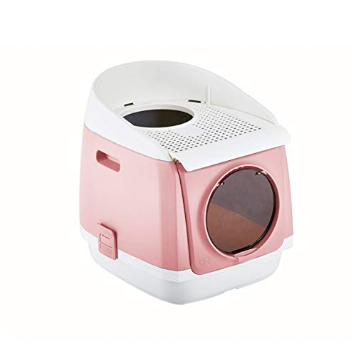 liangzishop Caja de Arena Caja de Arena de Gato Cerrado Doble Puerta Plegable Cat Potty Sigues Sigue Latter Basin Pet Supplie, 45.9cm × 54.9cm × 49.2cm Bandeja Sanitaria Gatera (Color : Pink)