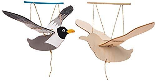 """Baker Ross Bastelsets Holzfiguren """"Möwen"""" (3 Stück) – bewegliche Puppe mit Flügeln für Kinder zum Gestalten"""