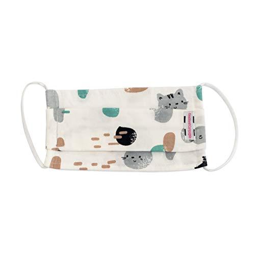 Doudou et Compagnie - Masque Enfant Lavable - Masque Enfant Tissu - Masque Coton Bio - - Motif Chats - 17 x 9 cm - Taille M - Beige - DC3753