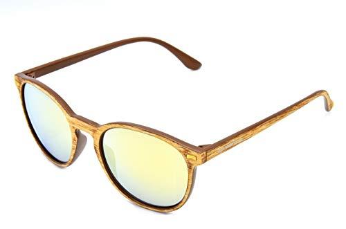 Gamswild WM1020 GAMSSTYLE - Occhiali da sole alla moda, unisex, effetto legno, colore: blu/oro, verde/turchese, rosa