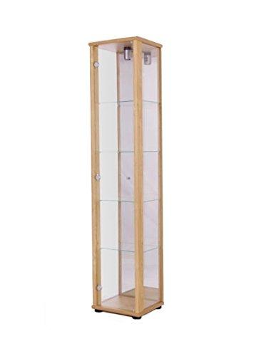 K-Möbel Glasvitrine in Buche (176x37x33 cm) mit 4 höhenverstellbaren Glasböden aus ESG und Spiegel; beleuchtet; perfekt für Sammler;