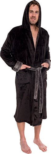 Ross Michaels Mens Hooded Bathrobe - Shawl Collar Plush Lounge Robe – Black/Grey, XXXL