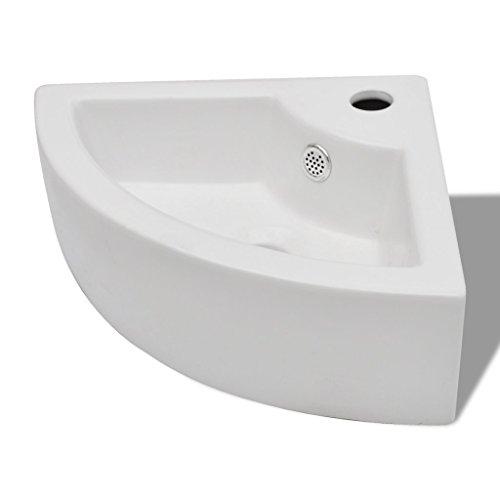 Festnight Keramik Eck Waschtisch Waschbecken Waschplatz Handwaschbecken mit Überlauf Weiß