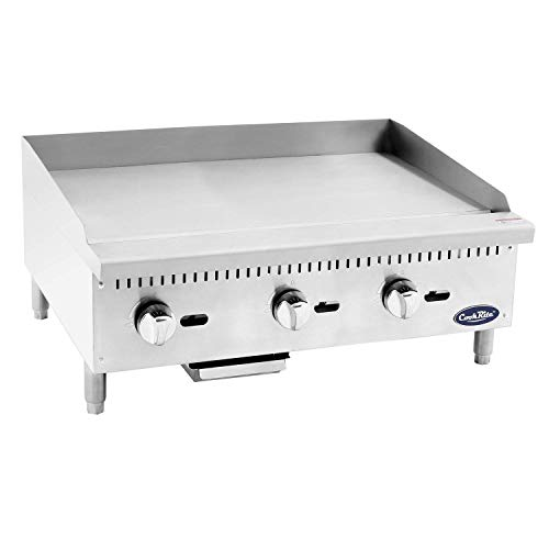 """Cook Rite ATMG-36 Commercial Griddle Heavy Duty Manual Flat Top Restaurant Griddle Stainless Steel Portable Grill Natural Gas 36"""" Countertop - 90,000 BTU"""