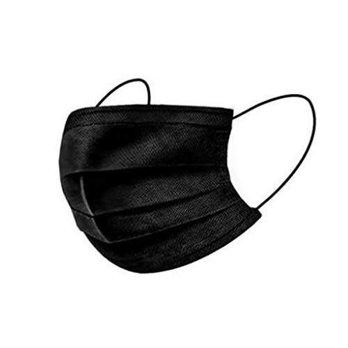 Maskers Gezicht Unisex Stofmasker Actieve Kool Luchtfilters Verstelbare Riem En Neusclip, Zwart 50 Stuks