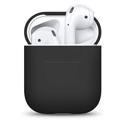 elago Silikonhülle Kompatibel mit Apple AirPods 1 und 2 (LED an der Frontseite Nicht Sichtbar) - [Unterstützt kabelloses Laden] [Stoßfeste Schutzhülle] [Ideal Passt Hülle] - Schwarz
