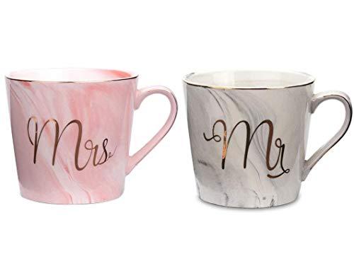Tougo 2 Stück 400 ml Mr und Mrs Tassen Keramik Kaffeetassen Kaffeebecher mit Marmorierung Mustern,perfekt für Kaffee,Tee und Wasser,Geschenk für Hochzeit Valentinstag Jubiläum und Weihnachten