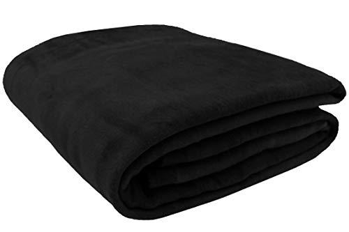 ZOLLNER Wolldecke schwarz 150 x 200 cm, Baumwollmix, viele Farben, Größen