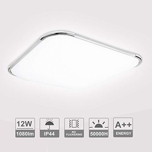 Hengda 12W LED Deckenleuchte, Badezimmer Lampe, 1080LM Flimmerfrei LED Panel Deckenlampe, 6500K Kaltweiße, Blendfrei