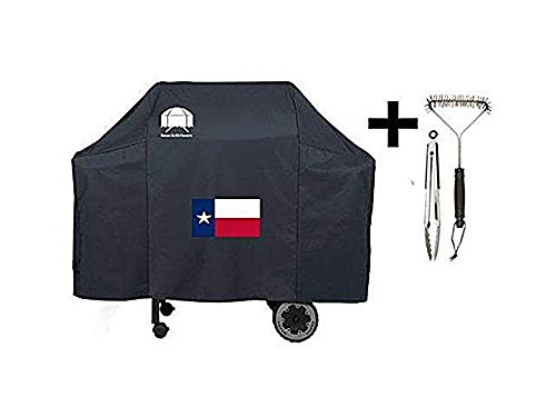 Texas Grillabdeckung 7573 Premium Cover mit Texas State Flag für Weber Spirit 200/300 und Genesis Silver A/B Gasgrills inkl. Bürste und Zange