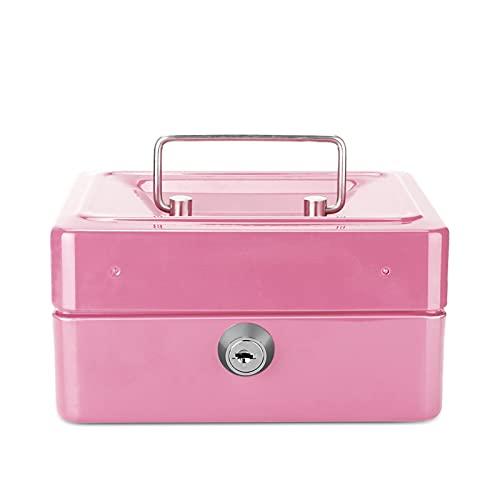 CML Mini Caja de Seguridad de Acero Inoxidable de Acero Inoxidable de Metal Negro for Bandeja de Efectivo de Monedas de Monedas con Llave Secreta Cajón de Efectivo Caja de Transporte (Color : Pink)