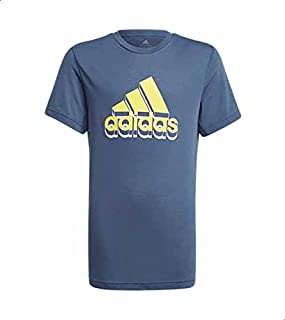 Adidas Aeroready Prime Slim Fit Front Logo T-shirt for Boys - Navy and Acid Yellow, 9-10 Years