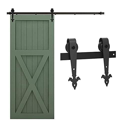 6.6FT/201CM WOLFBIRD skjutdörrar skjutdörrsystem skjutdörrsbeslag inställd med rulle och styrskena Lämplig för enkeldörr och trädörr-Blomma stil